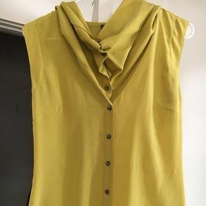 Silk cowl neck button-down